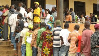Voters in Guinea's first democratic election; from cnn.com