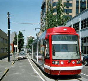 A fixed-rail tram in Portland, OR